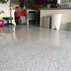 White Marble epoxy chip floor
