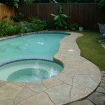 Concrete Resurfaced pool deck with a Stamped Overlay