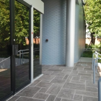 Commercial Entryway with Limestone Overlay