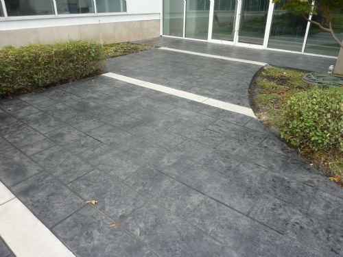 Stamped overlay on commercial entry