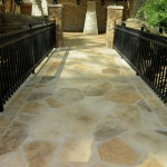 Limestone walkway in commercial hotel