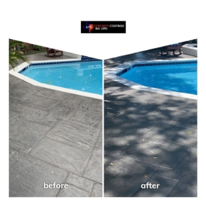 before after residential pool deck stain rehab