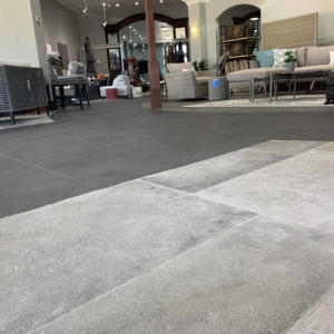 commercial entryway resurfaced using limestone overlay