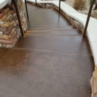 commercial pool deck with concrete stain