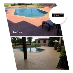 concrete pool deck restored stain rehab
