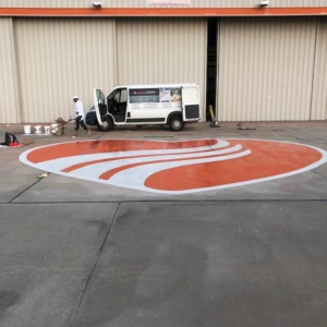 concrete stain on industrial distribution warehouse