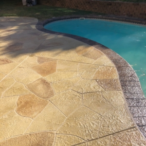 concrete stamped overlays for residential pool decks