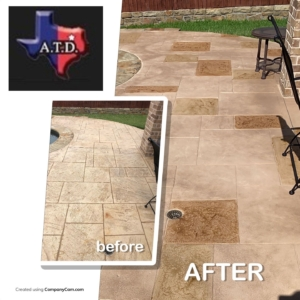 home pool deck beautified with stain rehab