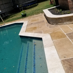 limestone overlay residential pool deck