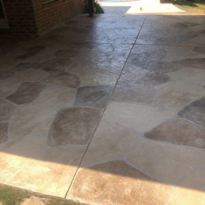limestone overlay used restore residential concrete patio