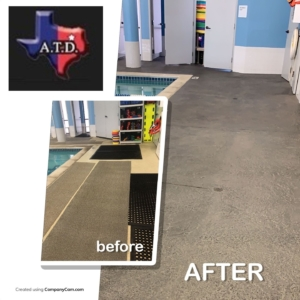 pool deck restored with stamped overlays
