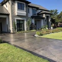 residential driveway with concrete stain