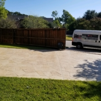 residential driveway with stamped overlay
