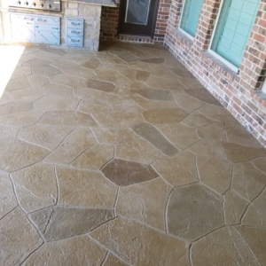residential patio with stamped overlay