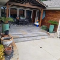 residential patio with stamped overlays