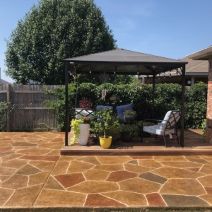 resurfaced residential patio with stamped overlay