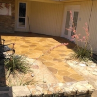 stamped overlay on residential patio